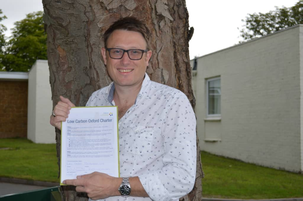 Matt Whitehead signs Low Carbon Charter