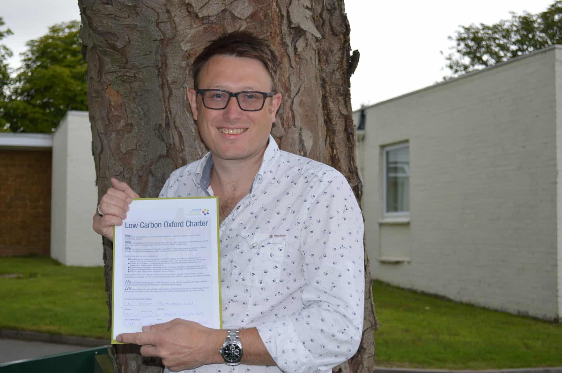 Matt Whitehead signs Low Carbon Charter