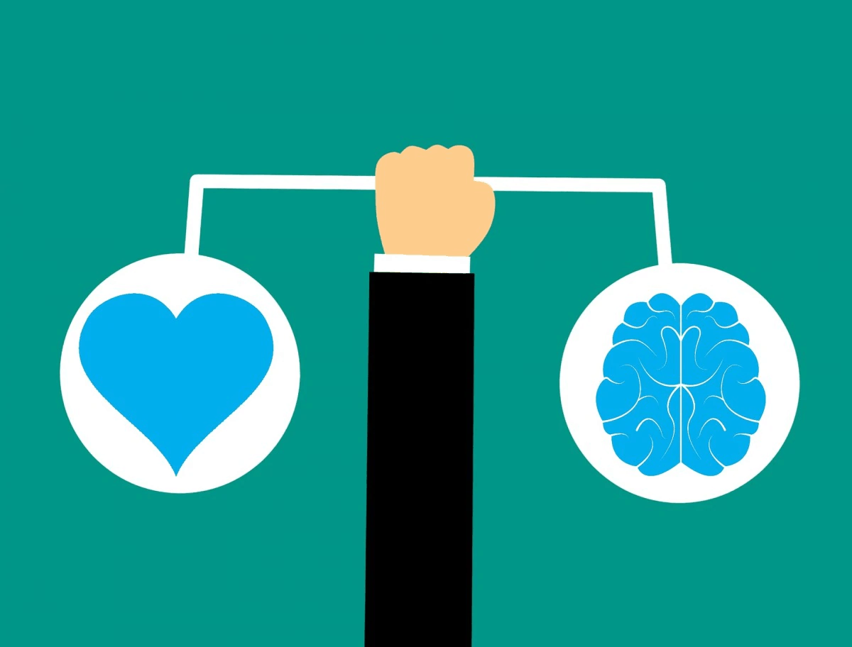 Picture showing a heart and a brain to symbolise productivity and well being